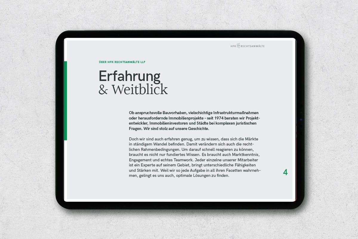 Redesign der digitalen Unternehmensbroschüre von HFK Rechtsanwälte