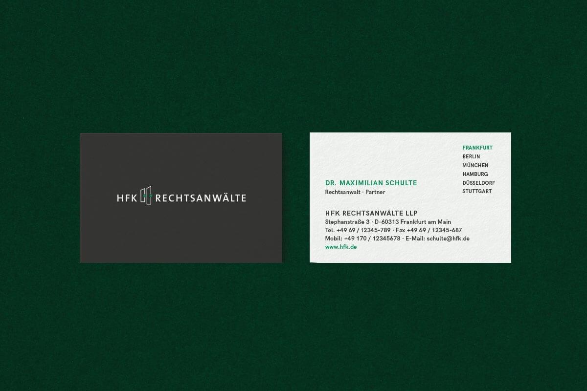 Corporate branding Überarbeitung für HFK Rechtsanwälte mit Visitenkarten