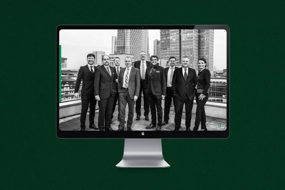 Das Team der HFK Rechtsanwälte in der digitalen Unternehmensbroschüre