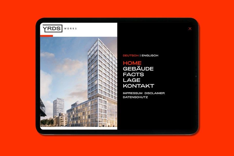 Markenentwicklung für ein Smart-Office-Building – YRDS Ansicht Tablet