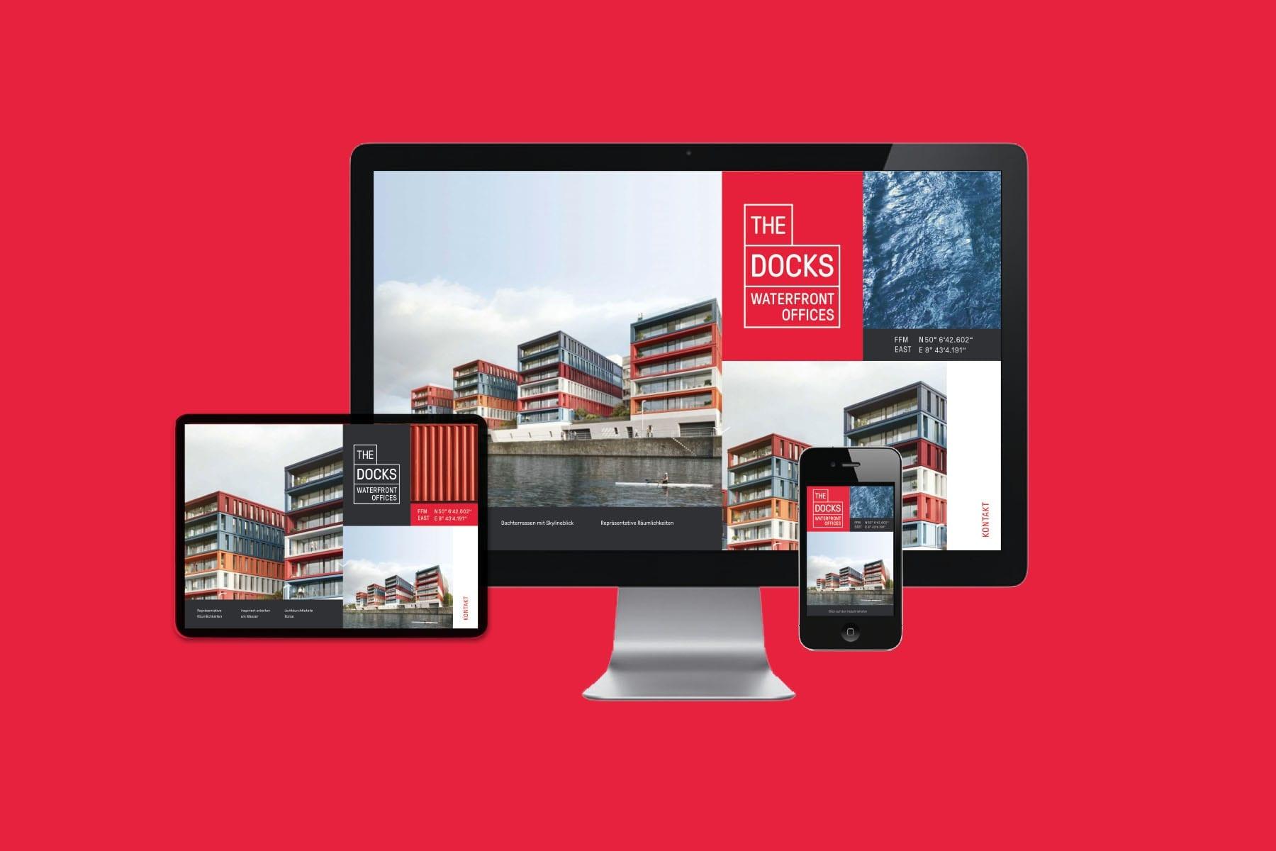 Marketingkampagne für das Bürogebäude - The Docks Website Responsive