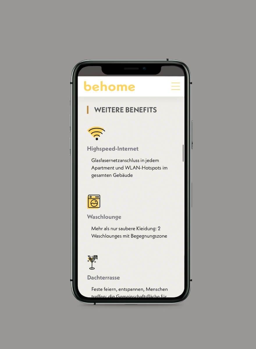 behome - Markenentwicklung Farbkonzept Website mobile services
