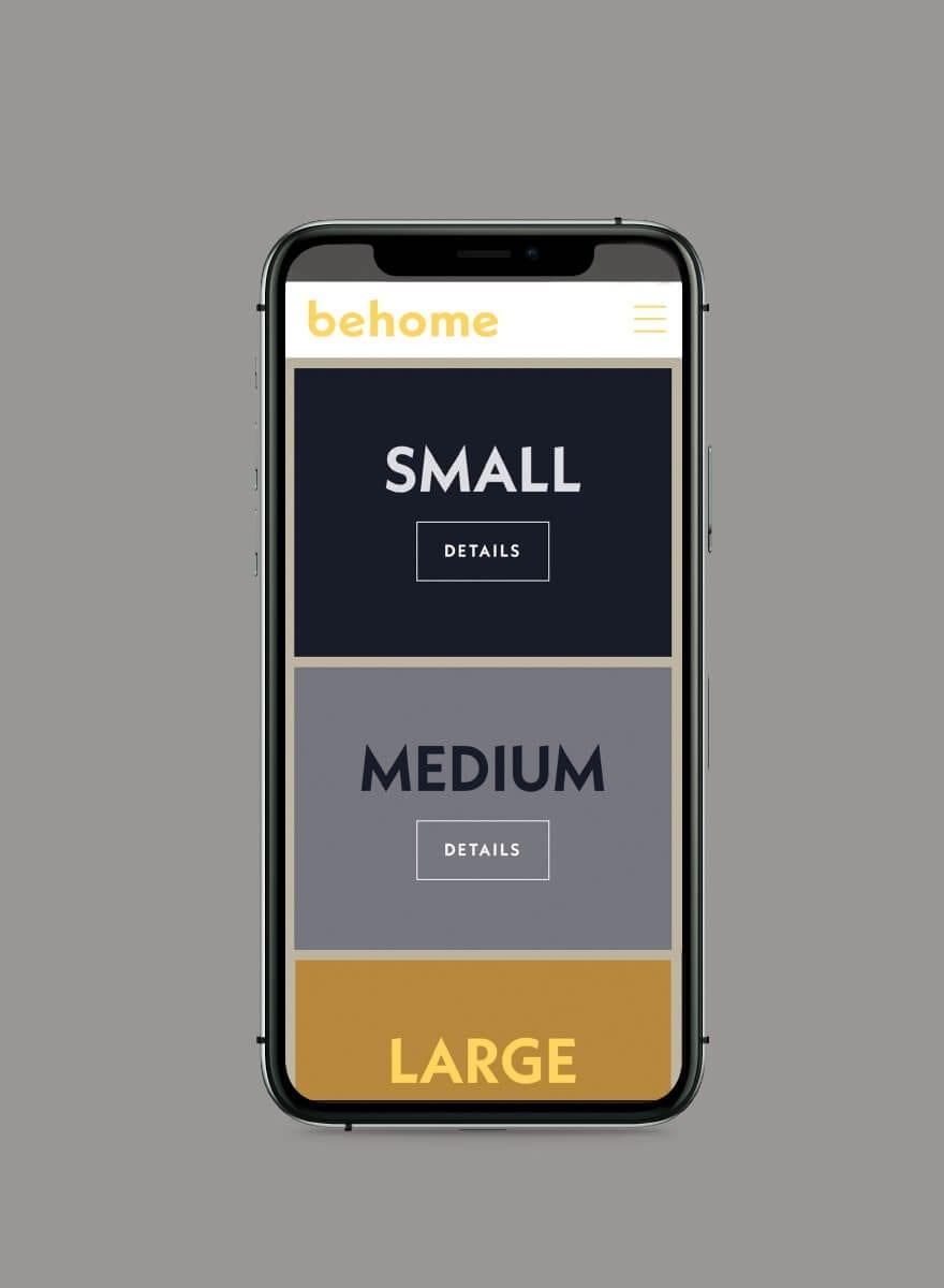 behome - Markenentwicklung Farbkonzept Website mobile