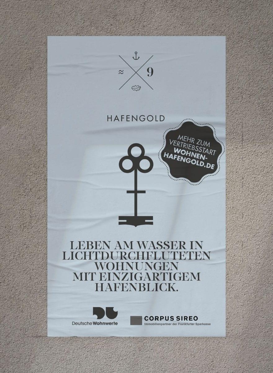 Branding Kampagne Wohnimmobilien Hafengold anzeige design
