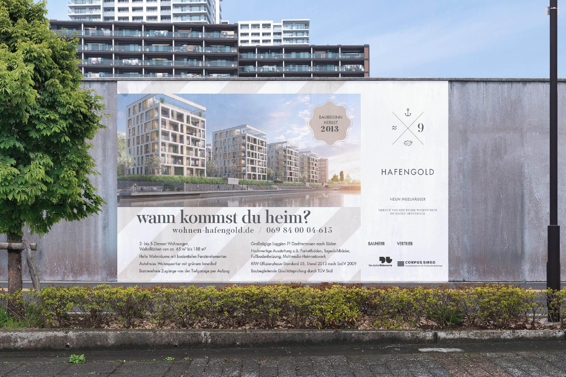 Branding Kampagne Wohnimmobilien Hafengold Bauzaun