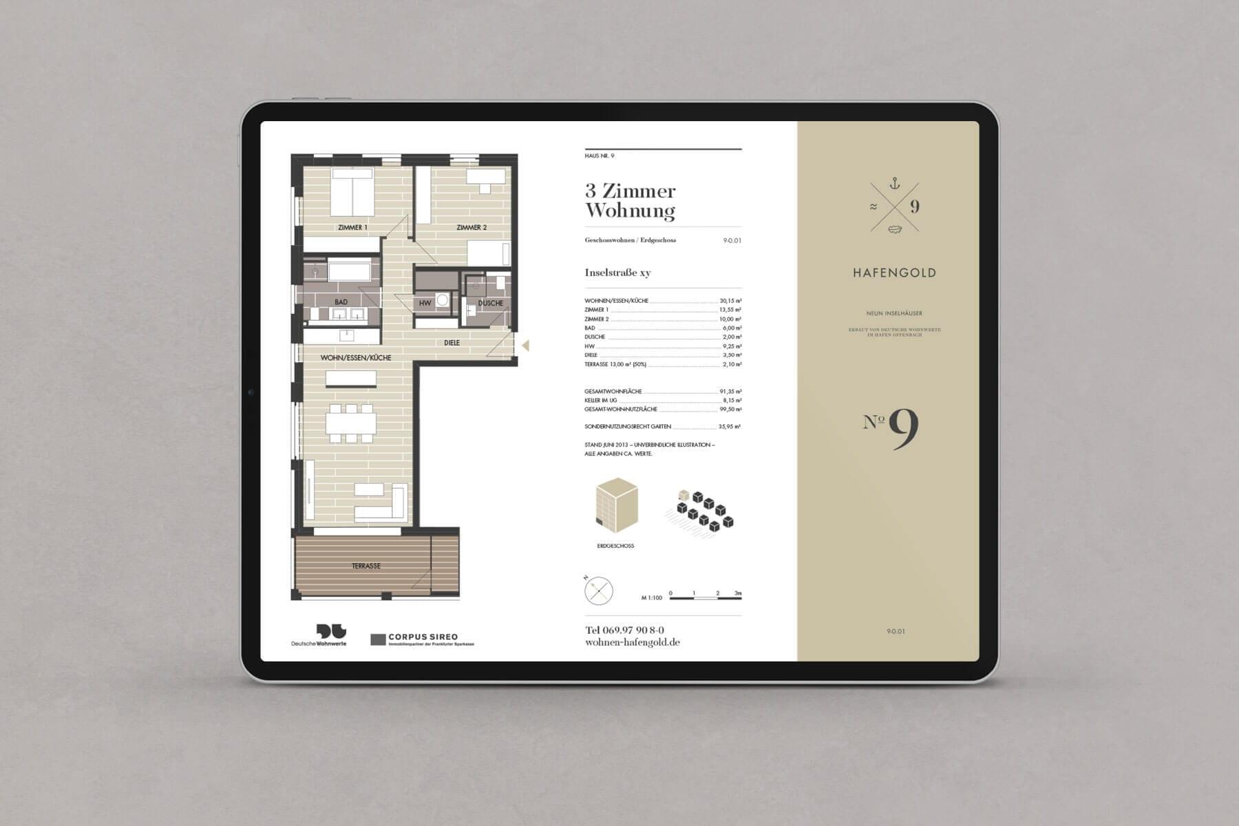 Branding Kampagne Wohnimmobilien Hafengold Grundrisse