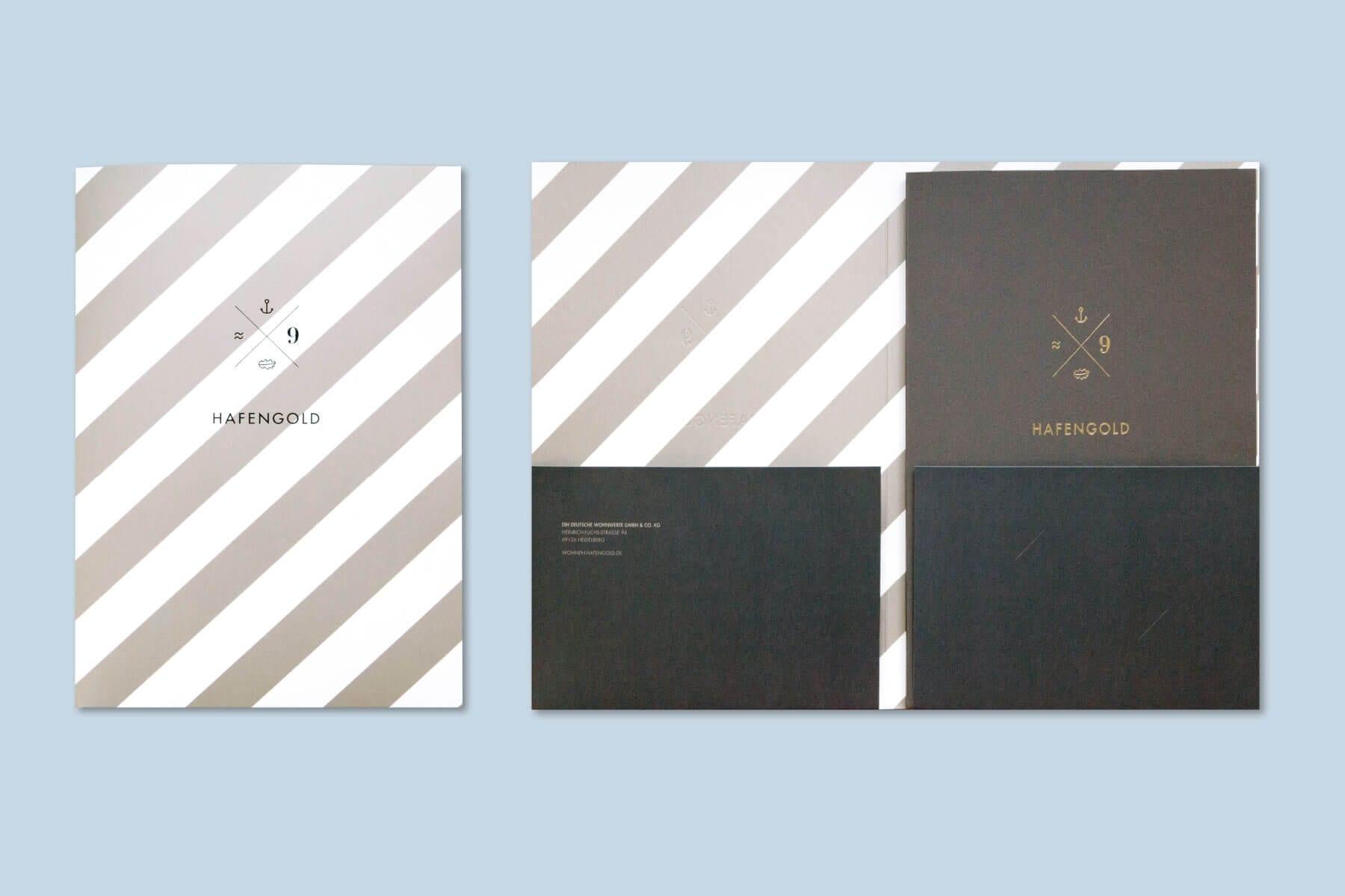 Branding Kampagne Wohnimmobilien Hafengold Marketingunterlagen Umschlag