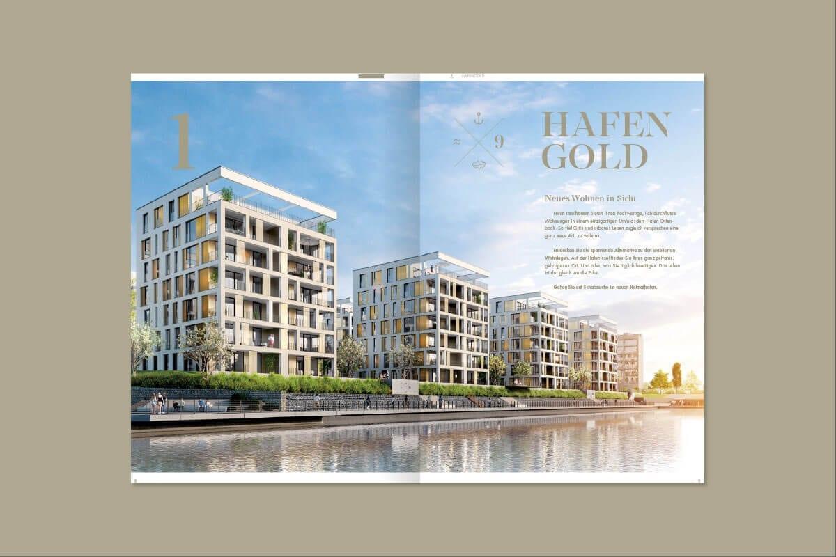 Branding Kampagne Wohnimmobilien Hafengold Vermarktungsunterlagen