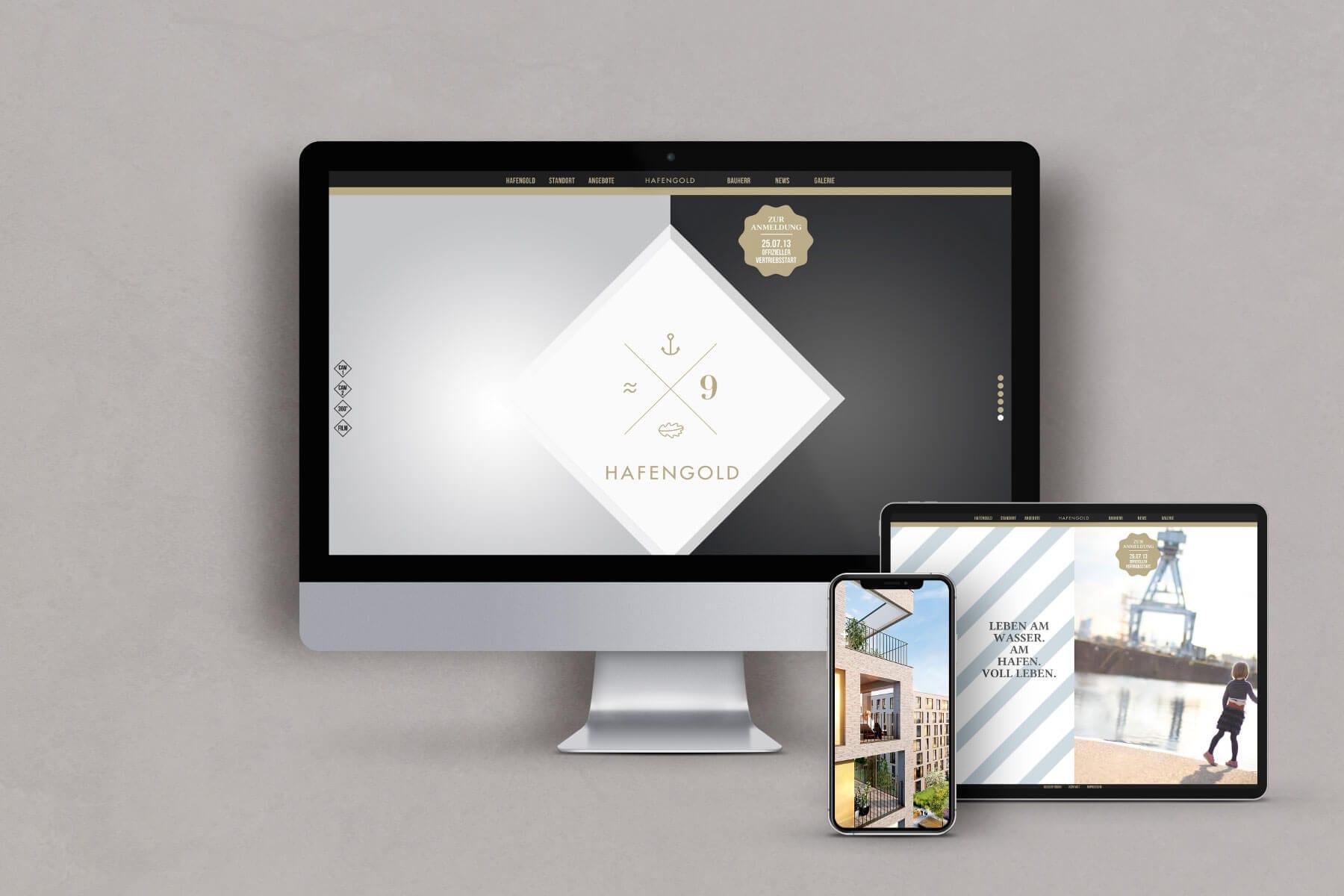 Branding Kampagne Wohnimmobilien Hafengold Website