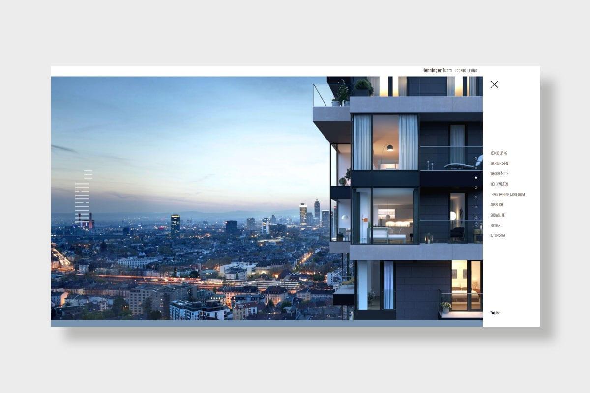 Henninger Turm Website Menü
