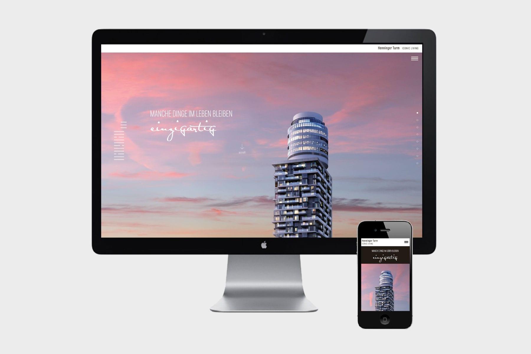 Markenauftritt Henninger Turm responsive Website