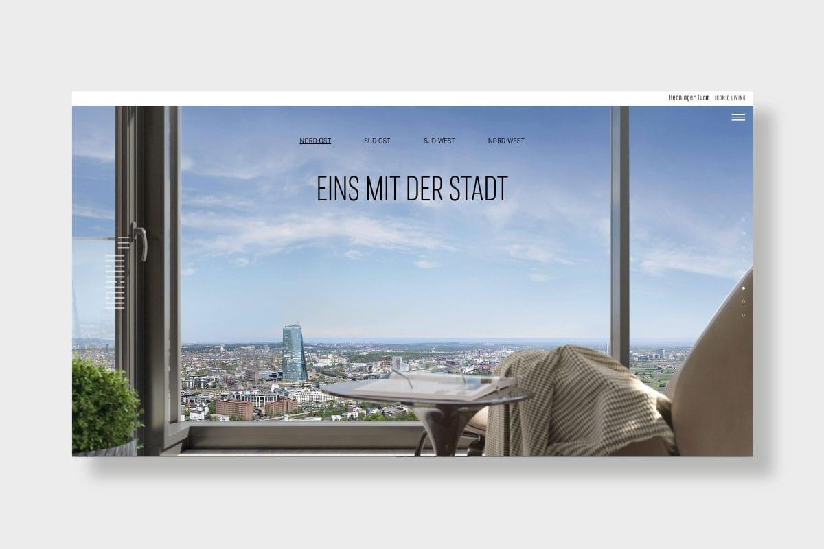 Markenauftritt Henninger Turm Website