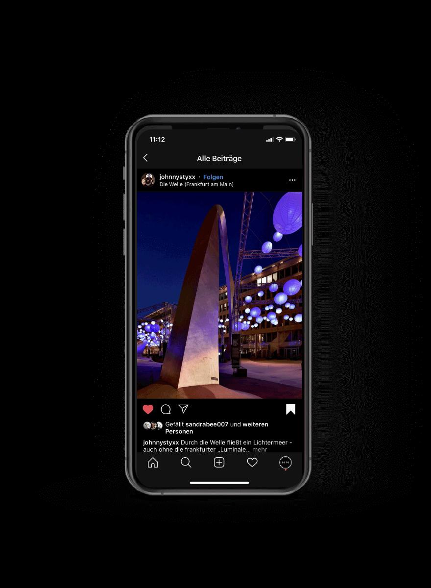 Lichtinstallation für die Luminale Social Media