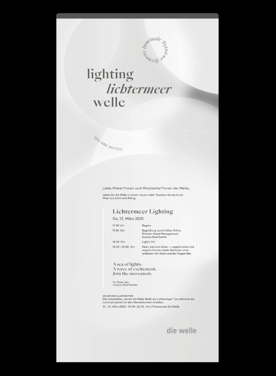 Lichtinstallation für die Luminale Mieterevent Einladung