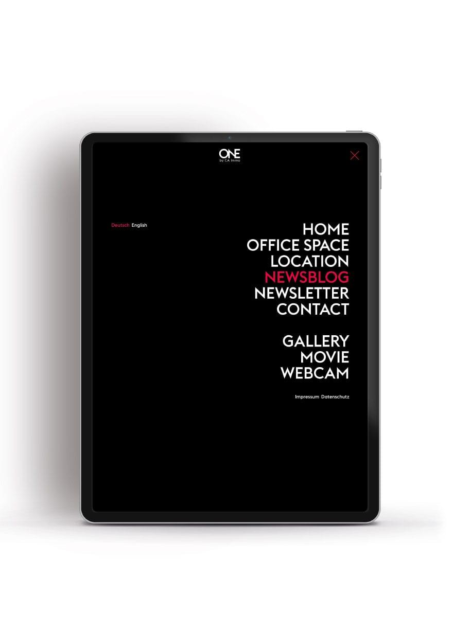 Branding-Kampagne ONE by CA Immo Website Menü